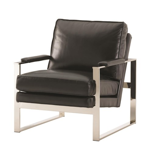 Lexington Lexington Leather Moonstone Chair with Metal Accents