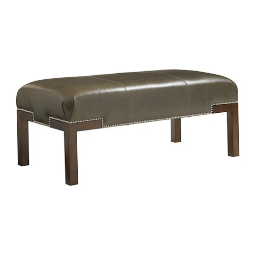 Lexington Lexington Leather Norfolk Cocktail Ottoman with Nailhead Trim