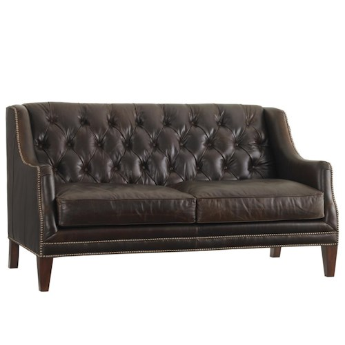 Lexington Lexington Leather Sloane Tufted Settee with Nailhead Trim