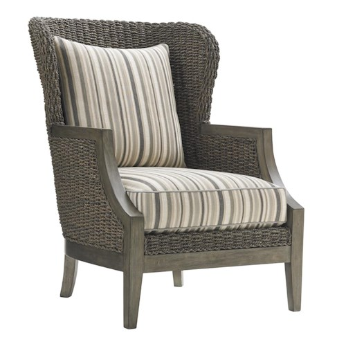 Lexington Oyster Bay Seaford Wing Chair with Woven Water Hyacinth Frame