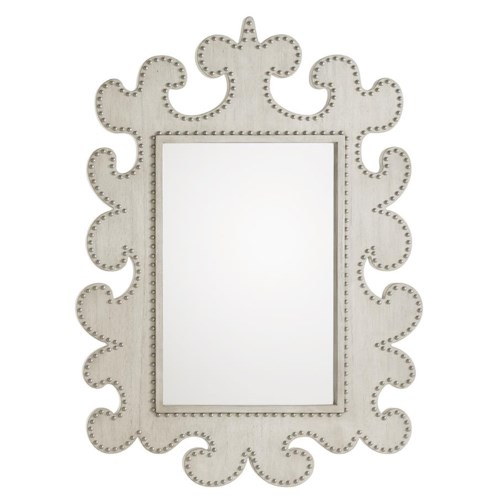 Lexington Oyster Bay Hempstead Wall Mirror with Scrolled Frame and Nailheads