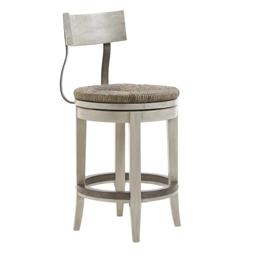 Lexington Oyster Bay Merrick Swivel Counter Stool with Rush Seat