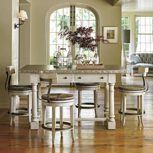 Lexington Oyster Bay Hidden Lake Bistro Table and Merrick Swivel Counter Stool Set