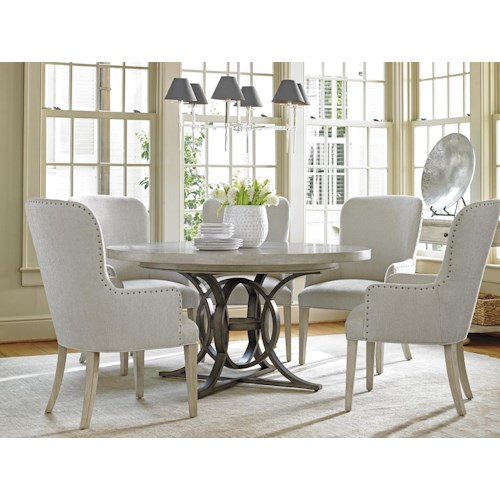 Lexington Oyster Bay Six Piece Dining Set with Calerton Table and Baxter Upholstered Chairs