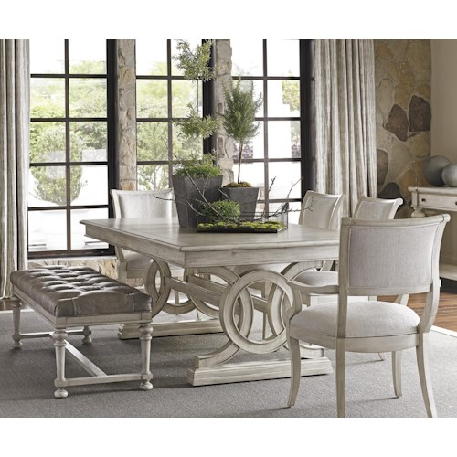 Lexington Oyster Bay Six Piece Dining Set with Montauk Table and Upholstered Bench