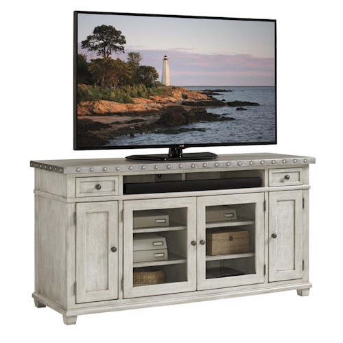 Lexington Oyster Bay Shadow Valley Media Console with Burnished Stainless Steel Top and Wire Management