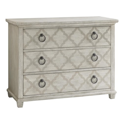 Lexington Oyster Bay Brookhaven Three-Drawer Hall Chest with Quatrefoil Print