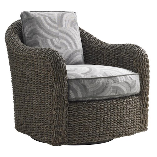 Lexington Oyster Bay Seabury Swivel Chair with Woven Water Hyacinth Frame