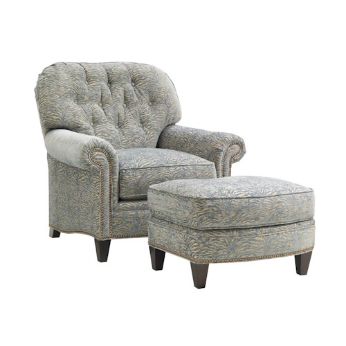 Lexington Oyster Bay Bayville Chair & Ottoman Set with Nailhead Trim