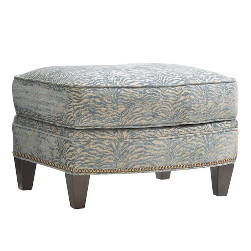 Lexington Oyster Bay Bayville Curved Ottoman with Nailhead Border