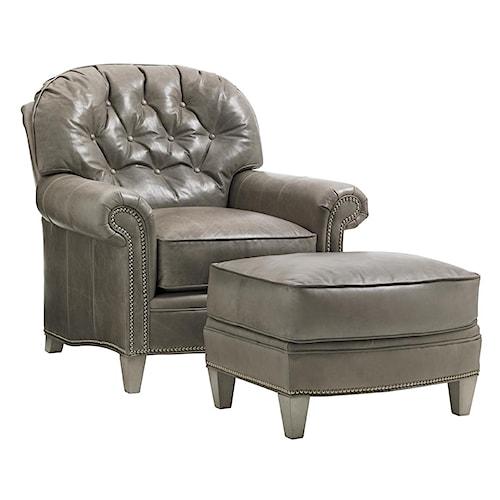 Lexington Oyster Bay Bayville Chair & Ottoman Set with Nailhead Trim
