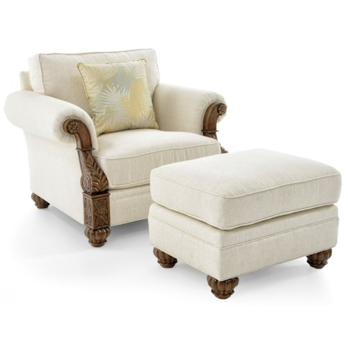 Lexington Quick Ship Upholstery Quick Ship Benoa Harbour Chair & Ottoman with Exposed Wood