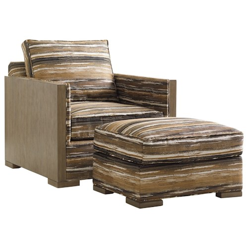 Lexington Shadow Play Delshire Chair with Exposed Wood Arms and Ottoman Set