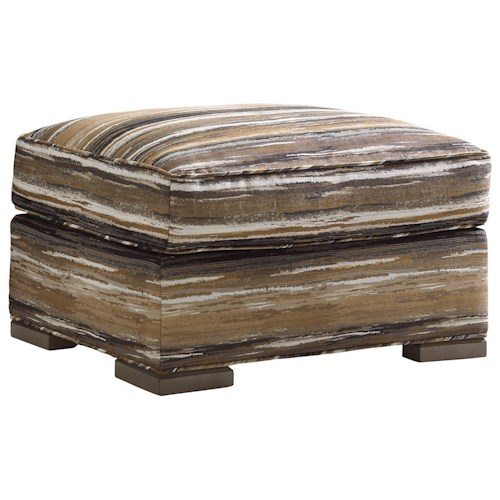 Lexington Shadow Play Delshire Ottoman with Wood Block Feet