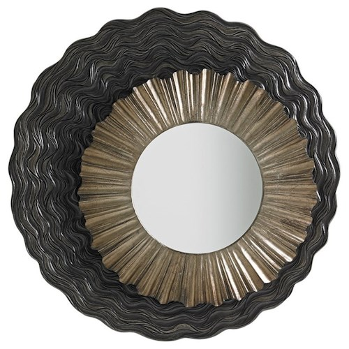 Lexington Shadow Play Simone Mirror with Asymmetrical Walnut and Silver Leaf Frame