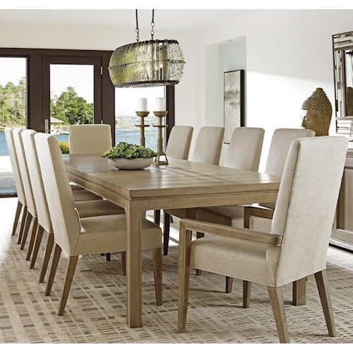 Lexington Shadow Play Eleven Piece Dining Set with Concorde Table and Dove Gray Metro Arm Chairs