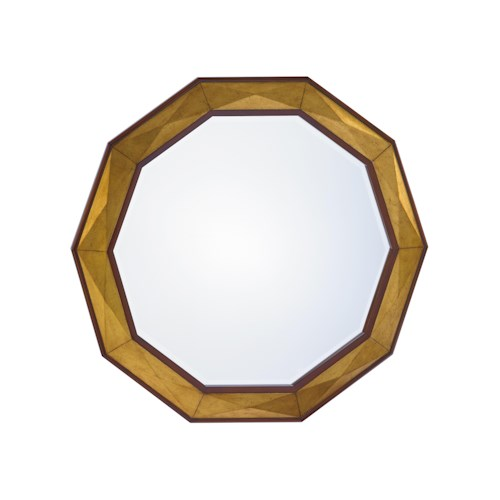 Lexington TAKE FIVE Savoy Round Mirror with Faceted Gold Leaf Border