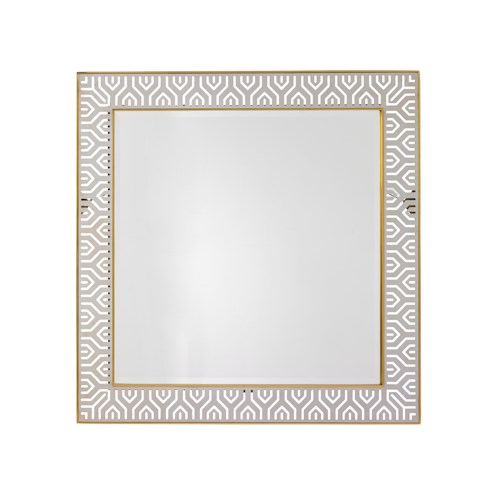 Lexington TAKE FIVE Tribeca Square Mirror with Laser-Cut Stainless Steel Frame and Brass Trim