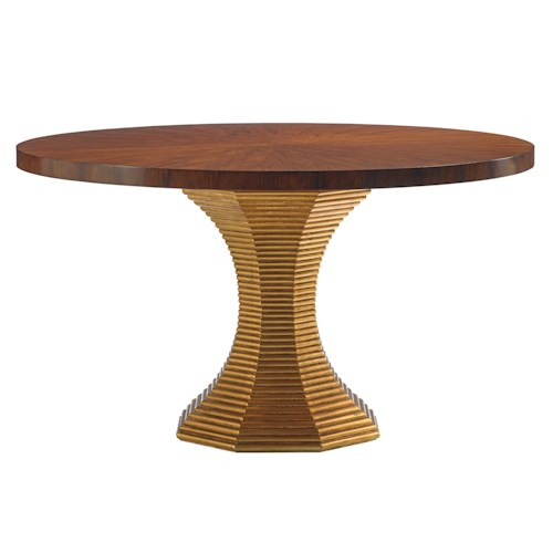 Lexington TAKE FIVE Regency Round Cathedral Rosewood Dining Table with Hourglass Base in Gold Leaf