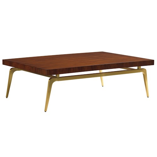 Lexington TAKE FIVE Bryant Park Cocktail Table with Rosewood Veneers and Brass-Plated Legs