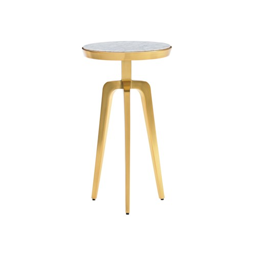 Lexington TAKE FIVE Interlude Accent Table with Carrera Marble Veneer Top and Brass-Plated Tripod Base