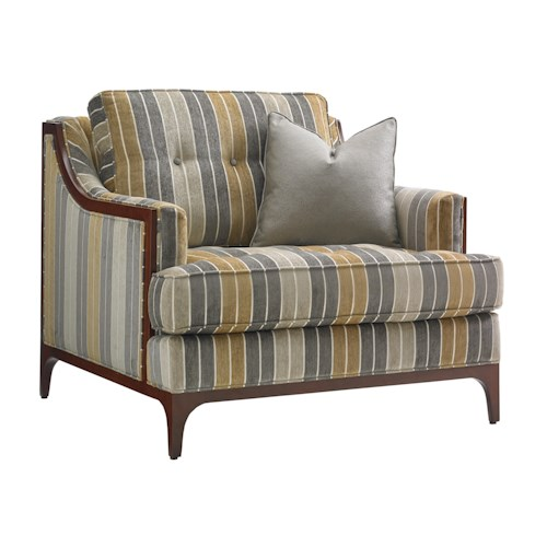 Lexington TAKE FIVE Barclay Chair with Tufting and Exposed Wood Detail