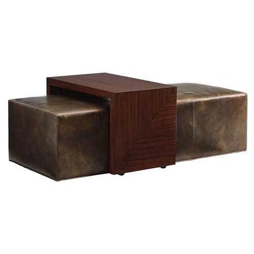 Lexington TAKE FIVE Broadway Cocktail Ottoman with Sliding Wood Tray