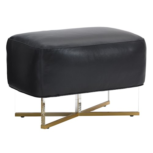 Lexington TAKE FIVE Bleeker Customizable Bench Ottoman with Mod Acrylic and Brass Legs