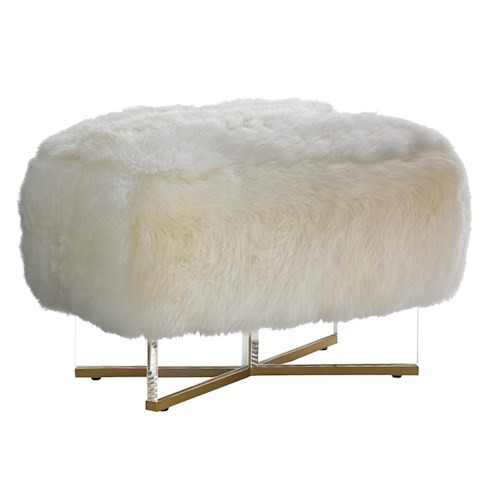 Lexington TAKE FIVE Bleeker Bench Ottoman with Acrylic Legs and Sheepskin Leather