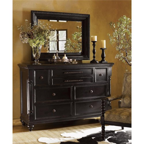 Tommy Bahama Home Kingstown Stony Point Triple Dresser and Fairpoint Mirror Combo