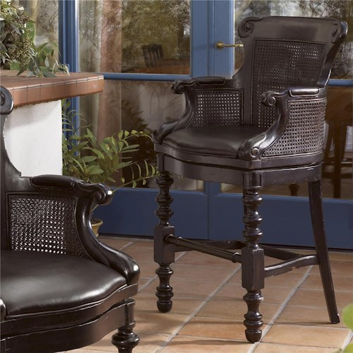 Tommy Bahama Home Kingstown Dunkirk Swivel Bar Stool with Arms