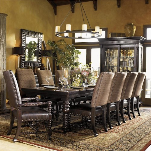 Tommy Bahama Home Kingstown Pembroke Rectangular Dining Table with Turned Legs
