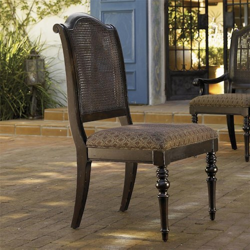 Tommy Bahama Home Kingstown Isla Verde Side Chair with Open Cane Back