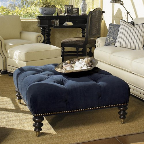 Tommy Bahama Home Kingstown Victoria Cocktail Ottoman with Casters