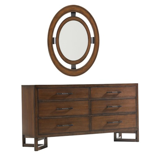 Lexington 11 South Six Drawer Boutique Dresser & Radius Mirror