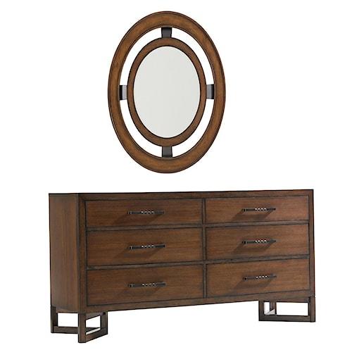 Lexington 11 South Six Drawer Boutique Dresser & Radius Mirror