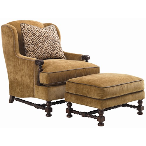 Lexington Fieldale Lodge Brandbury Wing Chair & Ottoman Combination