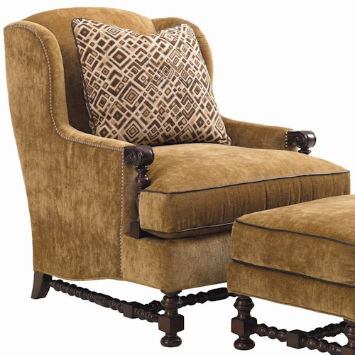 Lexington Fieldale Lodge Bradbury Wing Chair with Exposed Wood Details