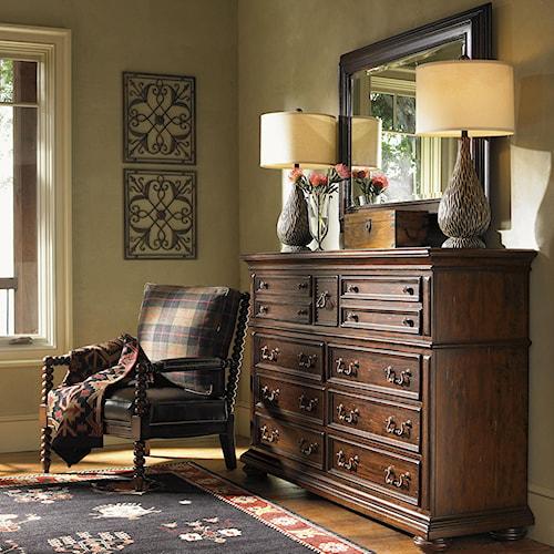 Lexington Fieldale Lodge Nine-Drawer Prescott Dresser & Lakeview Landscape Mirror Combination