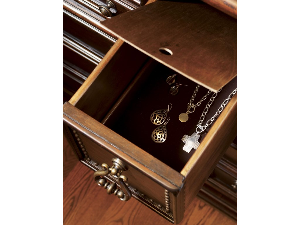 The Hidden Compartment in the Center Drawer is Felt-Lined for Storing Items of Value