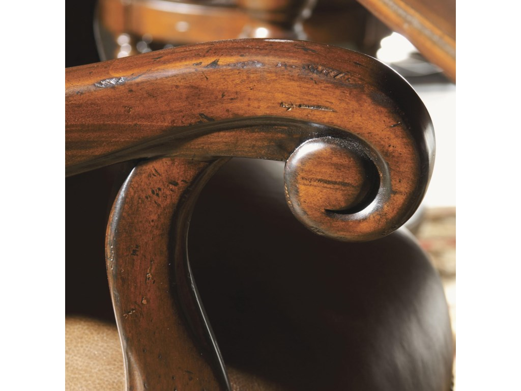 Beautiful, Traditional Scroll Detailing on Pinnacle Stool Arms