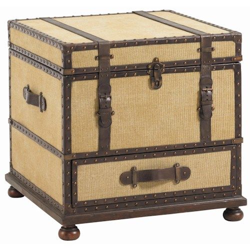 Lexington Fieldale Lodge Gunnison Storage Trunk Table with Leather & Brass Accents