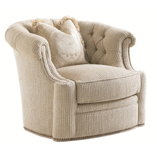 Lexington Florentino Feroni Swivel Tub Chair with Tufted Back and Nailheads