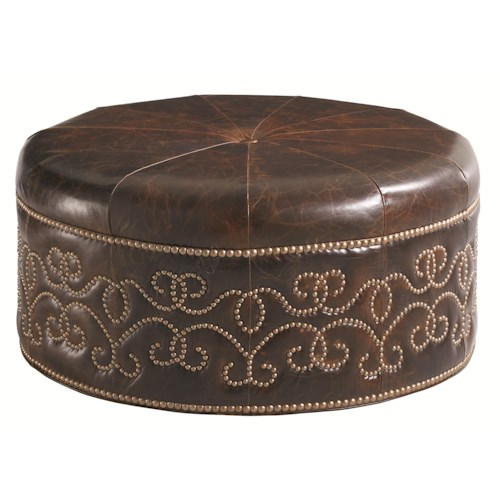 Lexington Florentino Giardini Leather Cocktail Ottoman with Scrolled Nailhead Stud Design