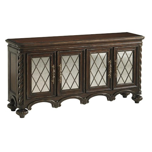 Lexington Florentino Barletta Four Door Hall Console with Antiqued Mirror and Traditional Fretwork