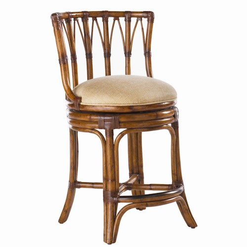 Tommy Bahama Home Island Estate <b>Quick Ship</b> South Beach Rattan Swivel Counter Stool