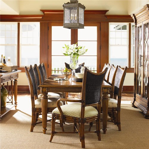 Tommy Bahama Home Island Estate 11 Piece Grenadine Rectangular Dining Table & Mangrove Chairs Set