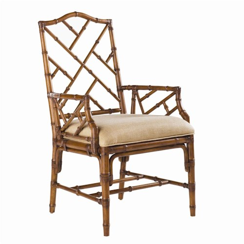 Tommy Bahama Home Island Estate <b>Customizable</b> Ceylon Arm Chair with Rattan Frame
