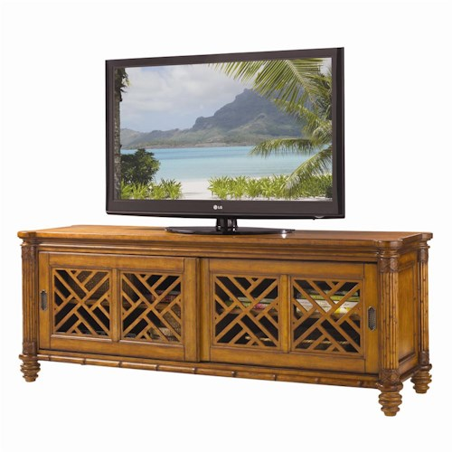 Tommy Bahama Home Island Estate Nevis Media Console with Pierced Lattice Panels