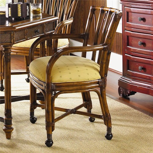 Tommy Bahama Home Island Estate <b>Customizable</b> Samba Dining Game Chair with Casters